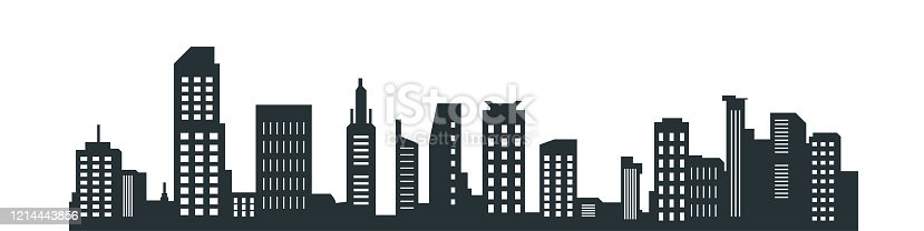 city silhouette, Silhouette of city with black color on white background.