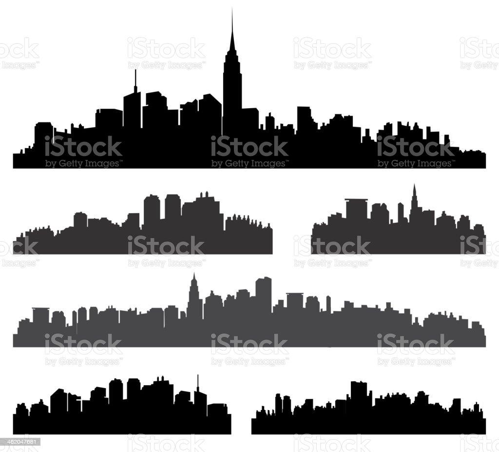City silhouette vector set. vector art illustration