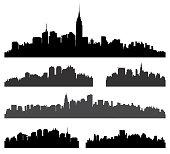 City silhouette vector set.