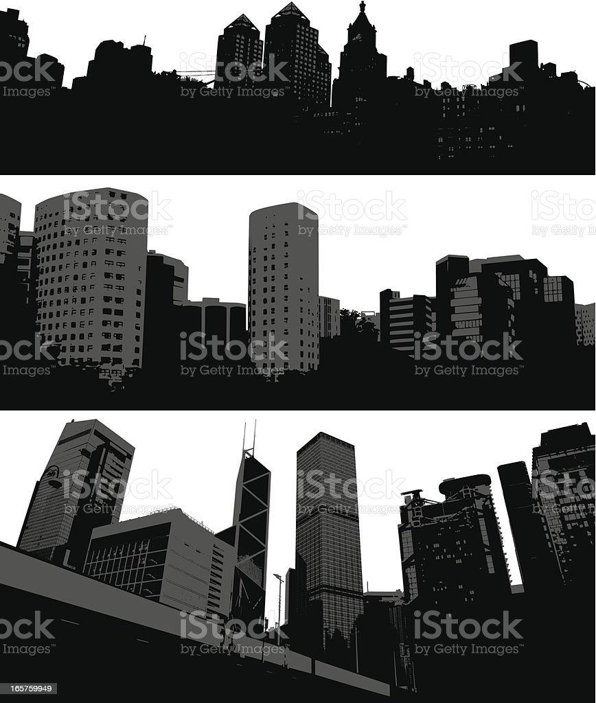 City silhouettes vector art illustration