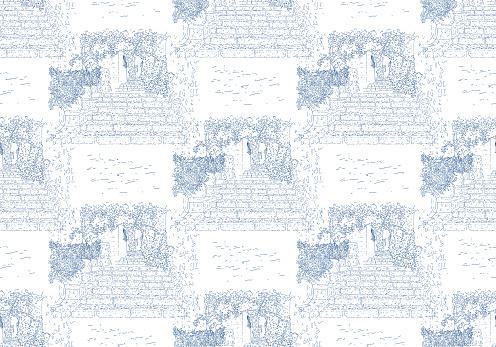 City sketching. Seamless pattern. Line art silhouette. Travel card. Tourism concept. France, Saint-Paul-de-Vence. Vector illustration.