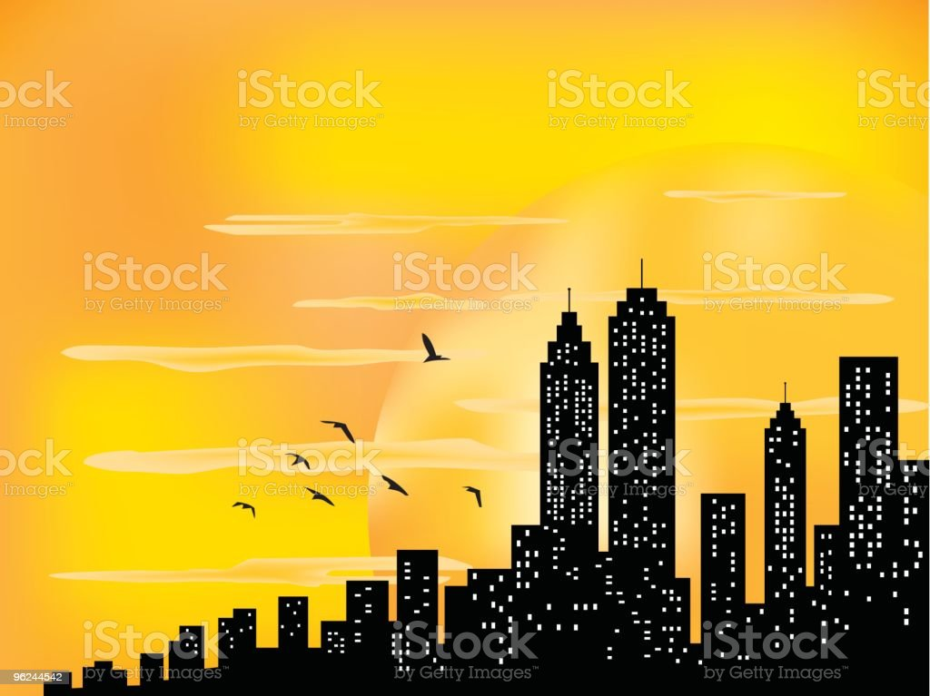 City Skyline and ahining sun with birds silhouette illustration royalty-free stock vector art