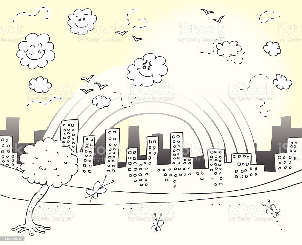 City Skyline and Park with butterfly, clouds,rainbow sky royalty-free stock vector art