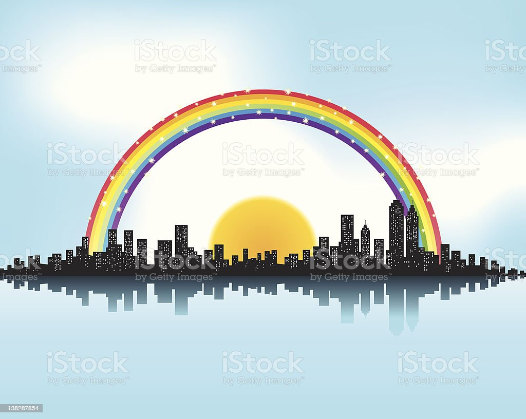 City Skyline and rainbow sun with reflection on sea,summer royalty-free city skyline and rainbow sun with reflection on seasummer stock vector art & more images of backgrounds