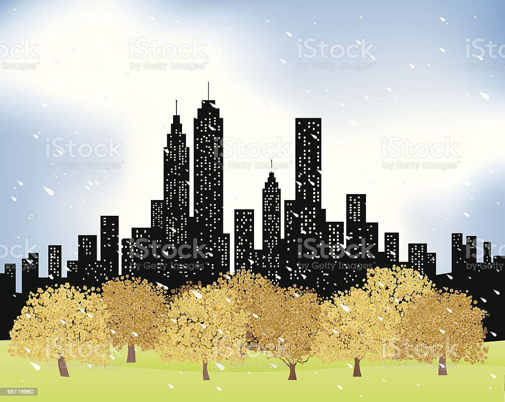 City Skyline and rain,trees,nature at fall,winter illustration royalty-free city skyline and raintreesnature at fallwinter illustration stock vector art & more images of autumn
