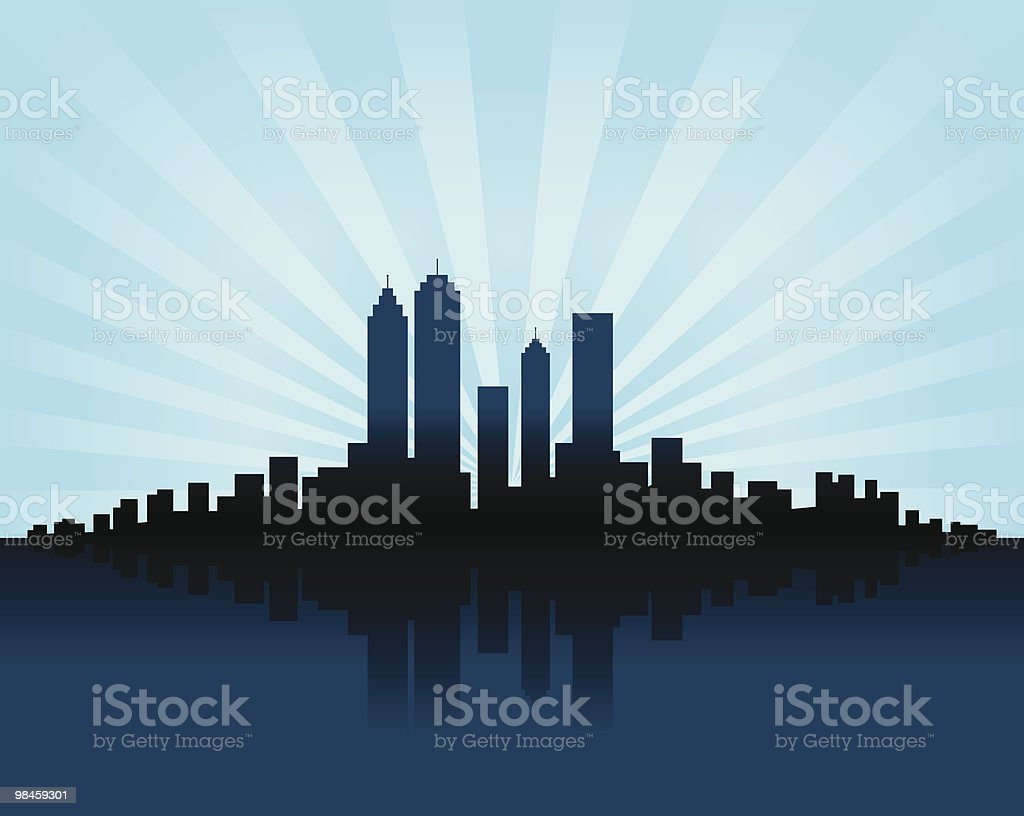 City Skyline and Shining sun behind cityscape silhouette royalty-free city skyline and shining sun behind cityscape silhouette stock vector art & more images of back lit