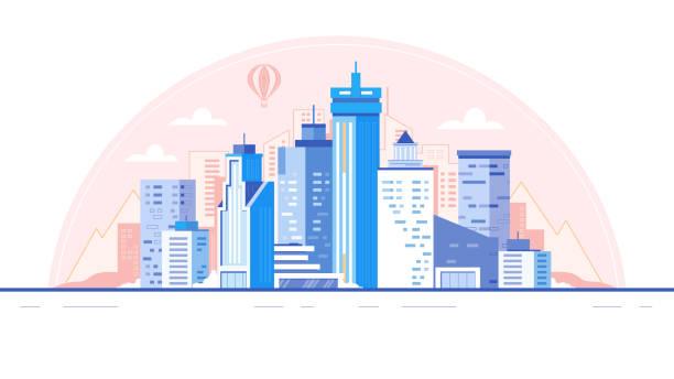 City skyline background. Buildings silhouette. Urban landscape for animation vector illustration vector art illustration