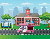 City skyline background with ice cream truck in front of school building