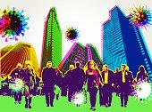 Posterised, Pop art, Grunge effect City Skyline, Buildings, urban, crisis, lockdown,