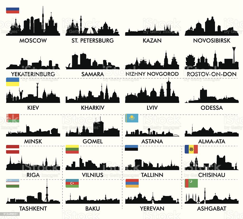 City skyline eastern and northern Europe and Central Asia vector art illustration
