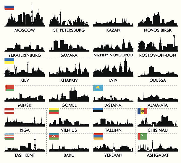 city skyline eastern and northern europe and central asia - 烏克蘭 幅插畫檔、美工圖案、卡通及圖標