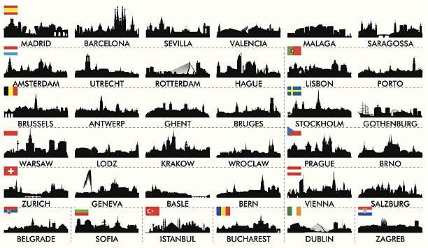 bildbanksillustrationer, clip art samt tecknat material och ikoner med city skyline european countries2 - salzburg