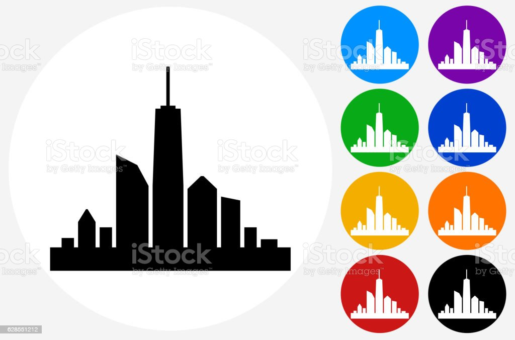 city skyline icon on flat color circle buttons stock vector art rh istockphoto com vector city maps vector city background
