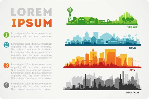 ilustrações, clipart, desenhos animados e ícones de horizonte da cidade de ilustração - city
