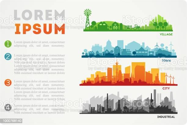 City Skyline Illustration - Arte vetorial de stock e mais imagens de Agricultura