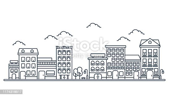 istock City skyline in line art style, Landscape with houses, trees and clouds in white background for real estate and property banner 1174318517