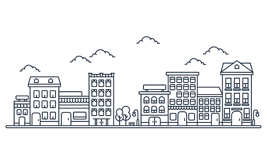 City skyline in line art style, Landscape with houses, trees and clouds in white background for real estate and property banner