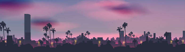 City skyline in tropical country landscape with palm tree at night panorama