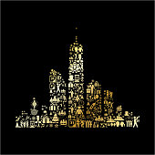 City Skyline New Year Golden Celebration Party. The main subject of this vector illustration is composed of various New Year Celebration icons. The icons are golden in color and fill in the outline of the shape by forming a seamless patter. The background is black which creates a strong visual contrast. The icons include such popular holiday symbols as fireworks, New Year clock, gift box, party, people dancing and many more festive icons.