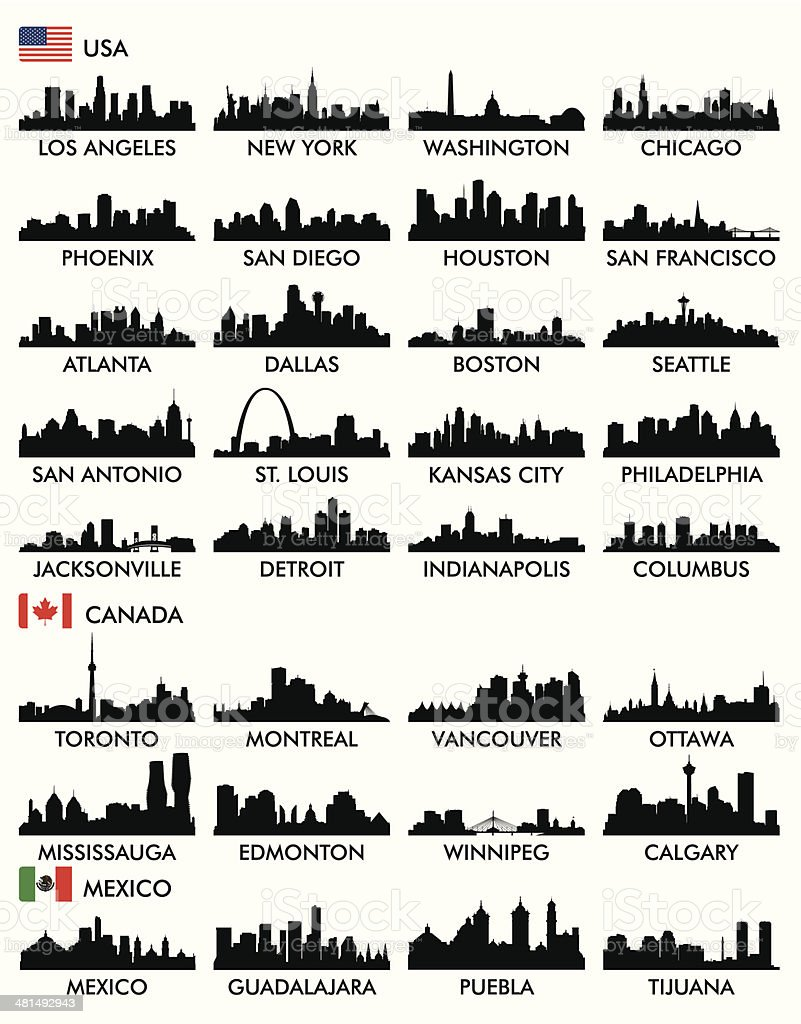 City skyline North America vector art illustration