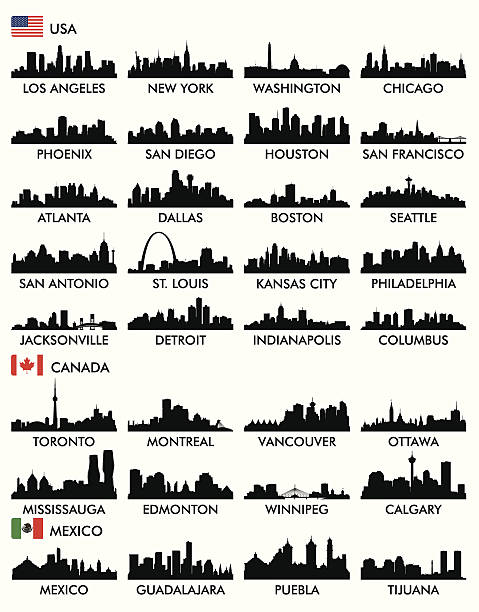 City skyline North America City skyline North America quebec stock illustrations