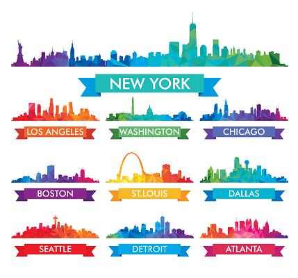 City skyline of America Colorful vector illustration