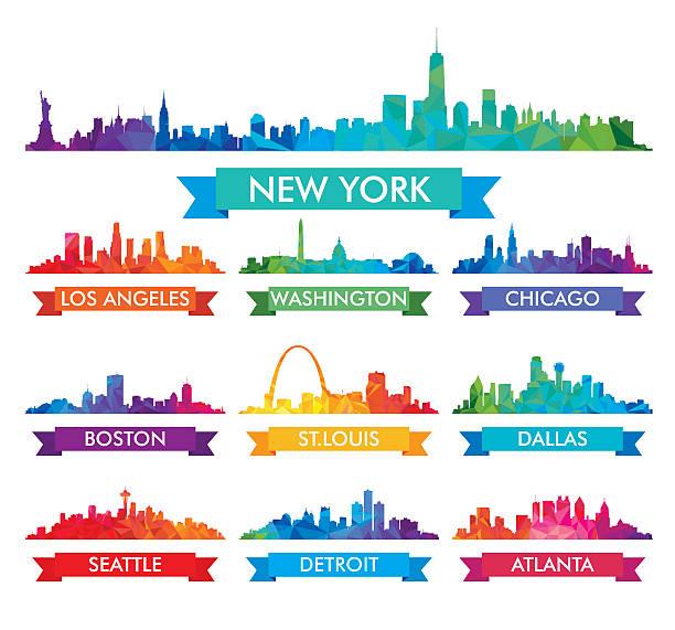 ilustraciones, imágenes clip art, dibujos animados e iconos de stock de horizonte de la ciudad de américa colorido vector ilustración - seattle
