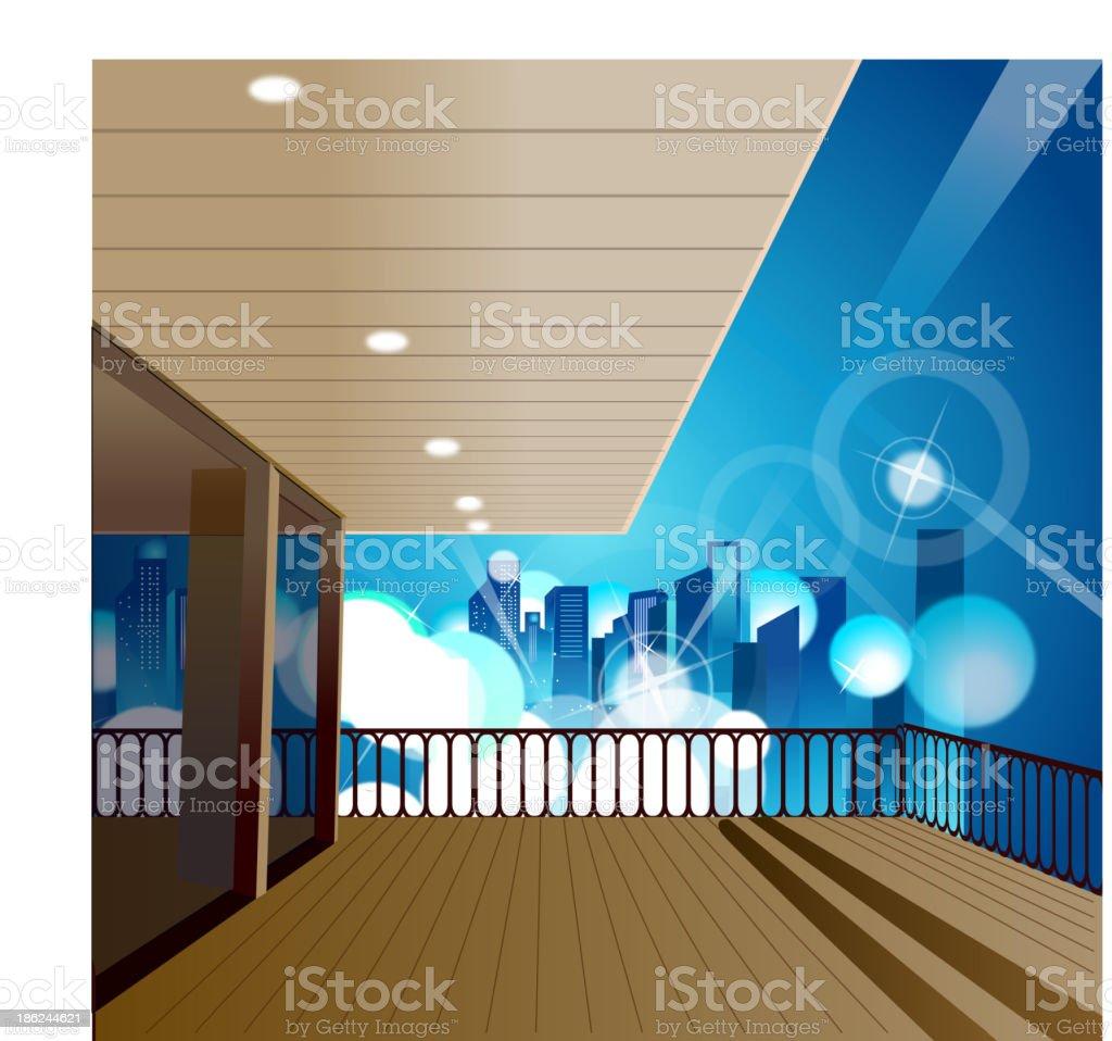 City skyline overlooks from balcony vector art illustration