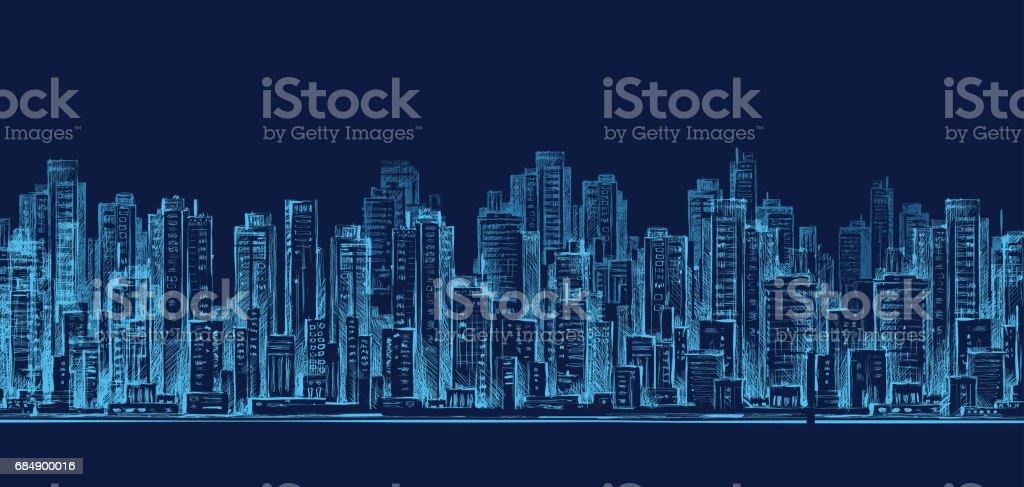 City Skyline Panorama in der Nacht, handgezeichnete Abbildung Lizenzfreies city skyline panorama in der nacht handgezeichnete abbildung stock vektor art und mehr bilder von abenddämmerung