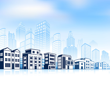 City skyline panoramic Background with Modern Community Buildings