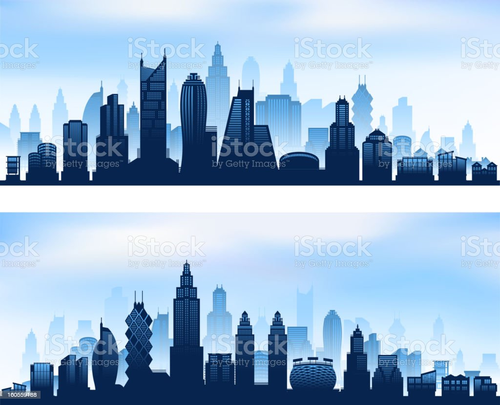 City skyline panoramic banners with modern skyscrapers royalty-free stock vector art