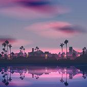 City skyline reflection in sea landscape with palm tree at night