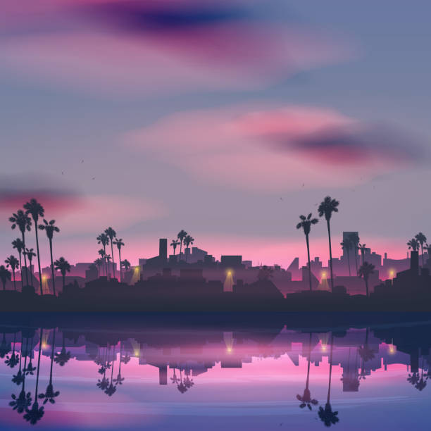City skyline reflection in sea landscape with palm tree at night City skyline reflection in sea landscape with palm tree at night waterfront stock illustrations