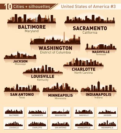 City skyline set. 10 city silhouettes of USA #3