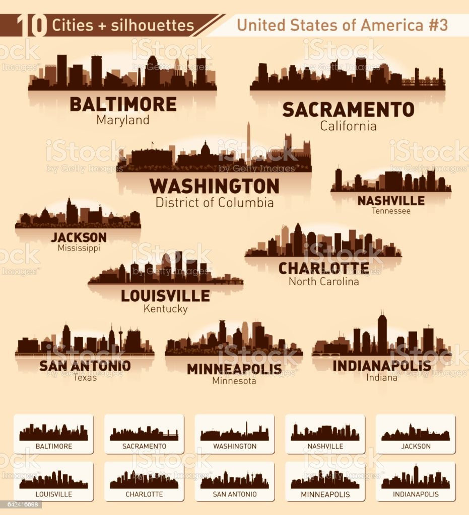 City skyline set. 10 city silhouettes of USA #3 vector art illustration