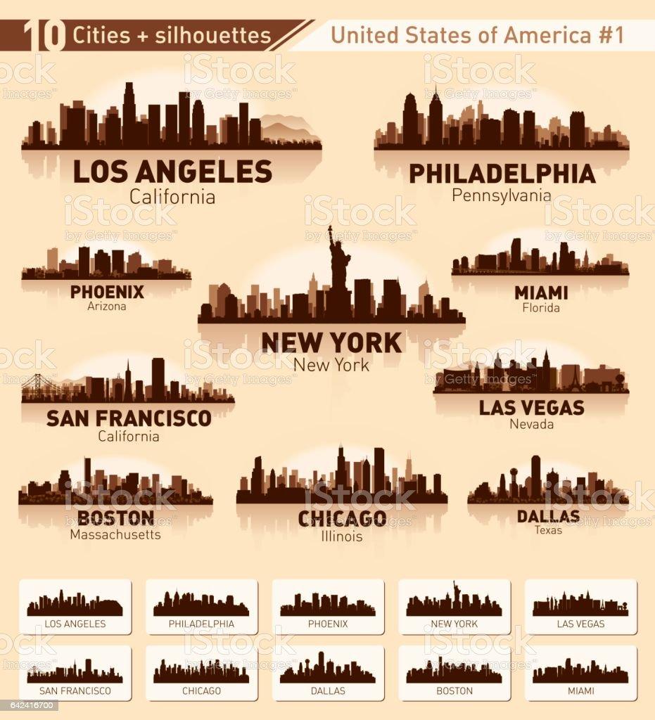 City skyline set. 10 city silhouettes of USA #1