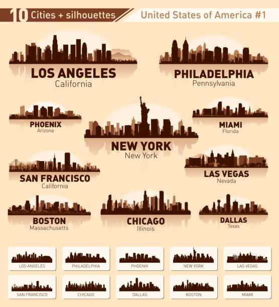 city skyline set. 10 city silhouettes of usa #1 - линия горизонта stock illustrations