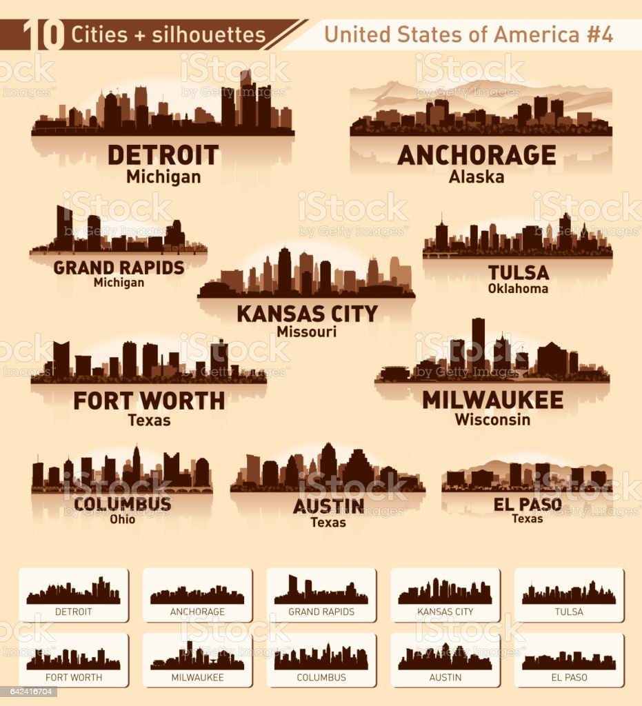 City skyline set. 10 city silhouettes of USA #4 vector art illustration