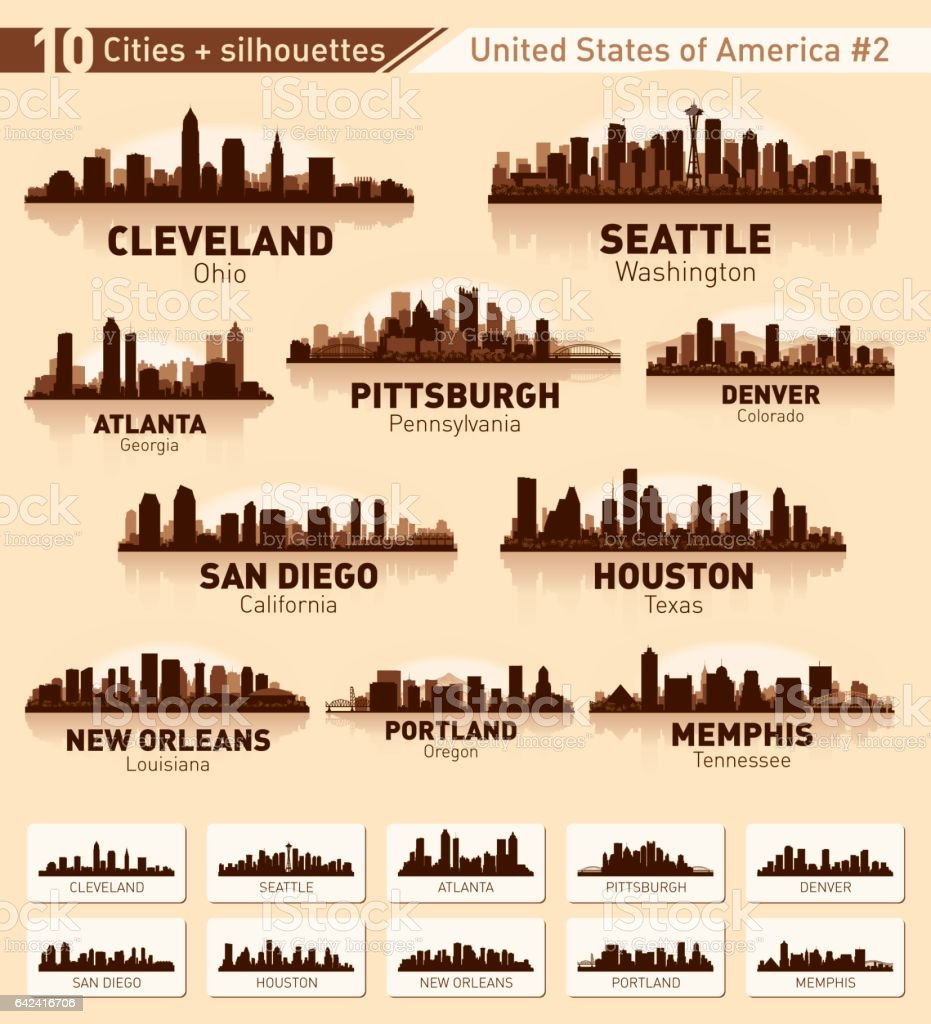 City skyline set. 10 city silhouettes of USA #2 vector art illustration
