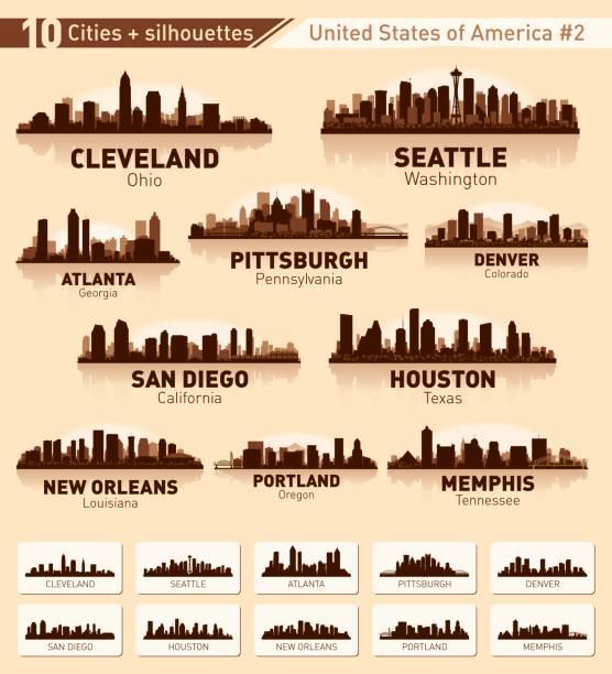 ilustraciones, imágenes clip art, dibujos animados e iconos de stock de conjunto de skyline de la ciudad. 10 siluetas de la ciudad de los e.e.u.u. #2 - seattle