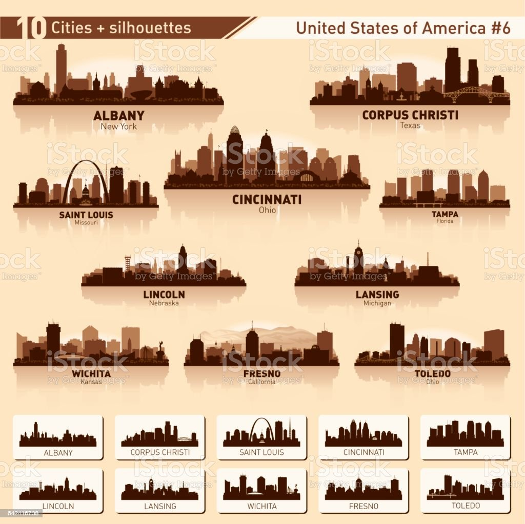 City skyline set. 10 city silhouettes of USA #6 vector art illustration