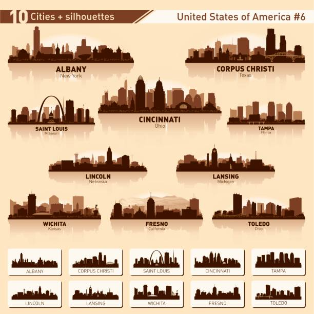city skyline set. 10 city silhouettes of usa #6 - st louis stock illustrations