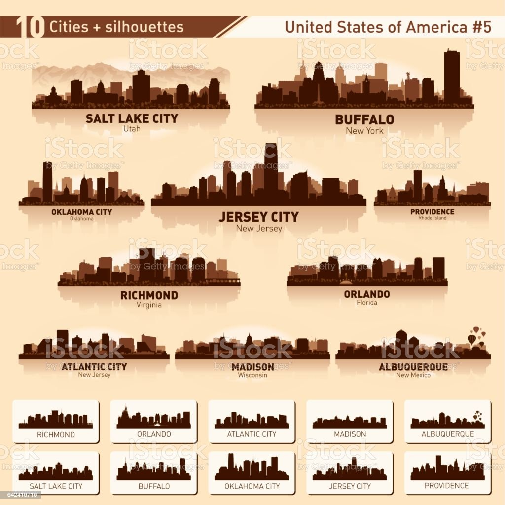 City skyline set. 10 city silhouettes of USA #5 vector art illustration