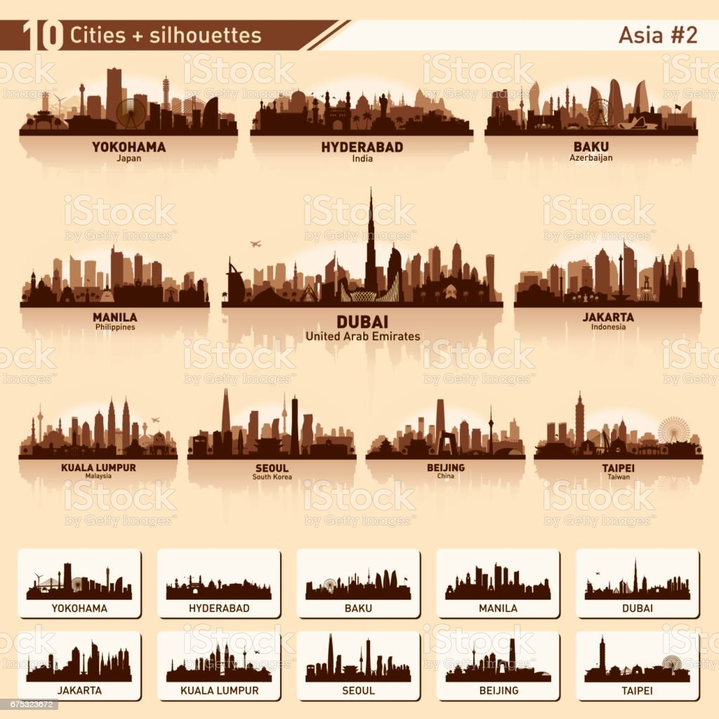 City skyline set 10 vector silhouettes of Asia #2 vector art illustration