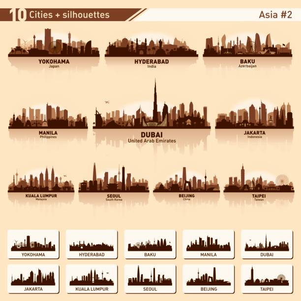 City skyline set 10 vector silhouettes of Asia #2 City skyline set. Asia. Vector silhouette background illustration. indonesia stock illustrations