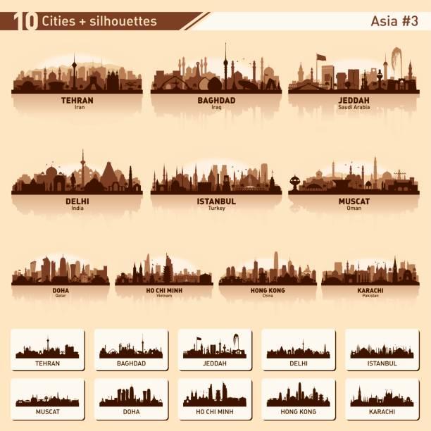 illustrations, cliparts, dessins animés et icônes de toits de la ville a défini 10 silhouettes de vecteur d'asie #3 - doha