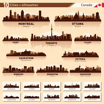 City skyline set 10 vector silhouettes of Canada #1 clipart