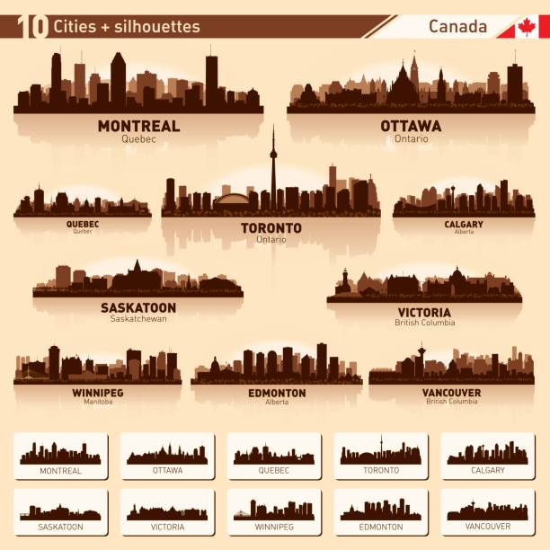 City skyline set 10 vector silhouettes of Canada #1 City skyline set. Canada. Vector silhouette background illustration. british columbia stock illustrations