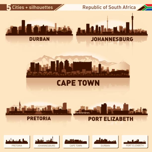 bildbanksillustrationer, clip art samt tecknat material och ikoner med stadssilhuetten ställa 10 vektor silhuetter av sydafrika - south africa