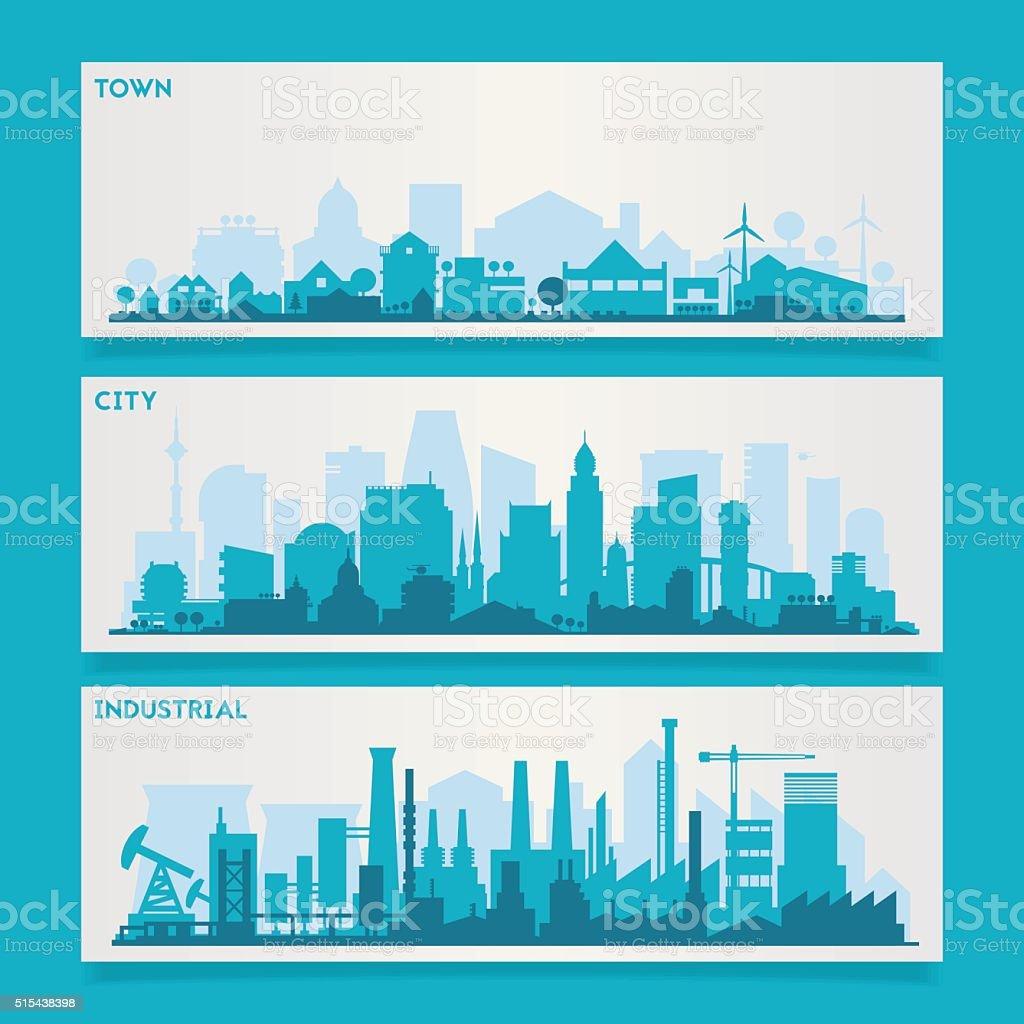 City Skyline Sets vector art illustration